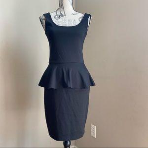 Love...Ady Black Fitted Tank ponte peplum dress M